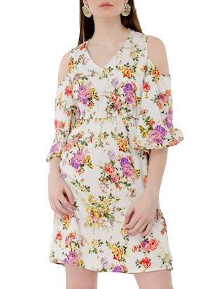 white floral a-line dress - 15120863 - Standard Image - 1