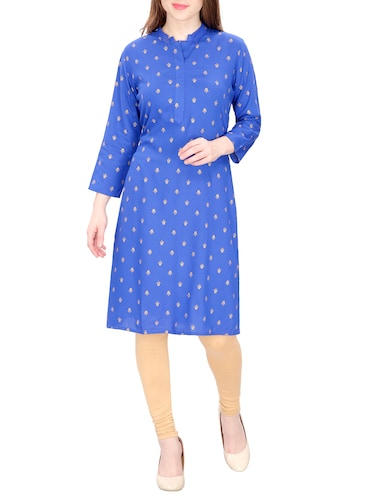 blue cotton straight printed kurta - 15120869 - Standard Image - 1