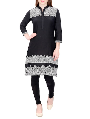 black cotton straight kurta - 15120870 - Standard Image - 1