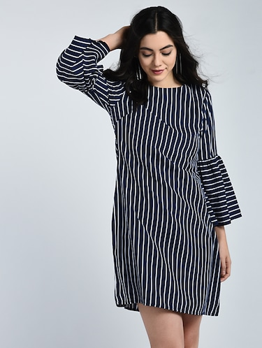 Bell sleeved striped shift dress - 15121410 - Standard Image - 1