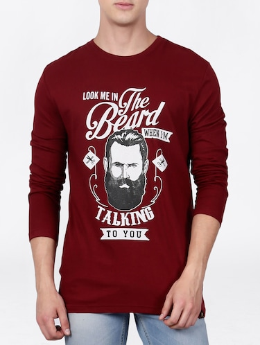 maroon cotton front print t-shirt - 15121820 - Standard Image - 1