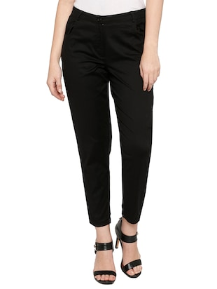 solid black cotton cigarette pant - 15122337 - Standard Image - 1