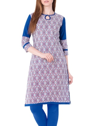 blue cotton straight kurta - 15122368 - Standard Image - 1