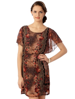 brown printed blouson dress - 15123841 - Standard Image - 1