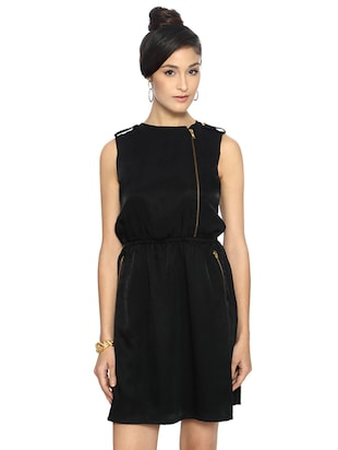 black solid blouson dress - 15123858 - Standard Image - 1