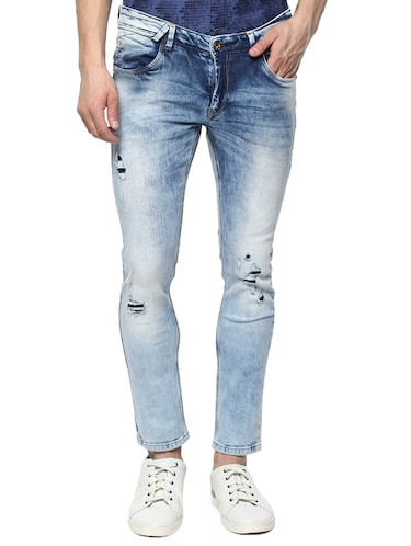 blue cotton ripped jeans - 15124462 - Standard Image - 1