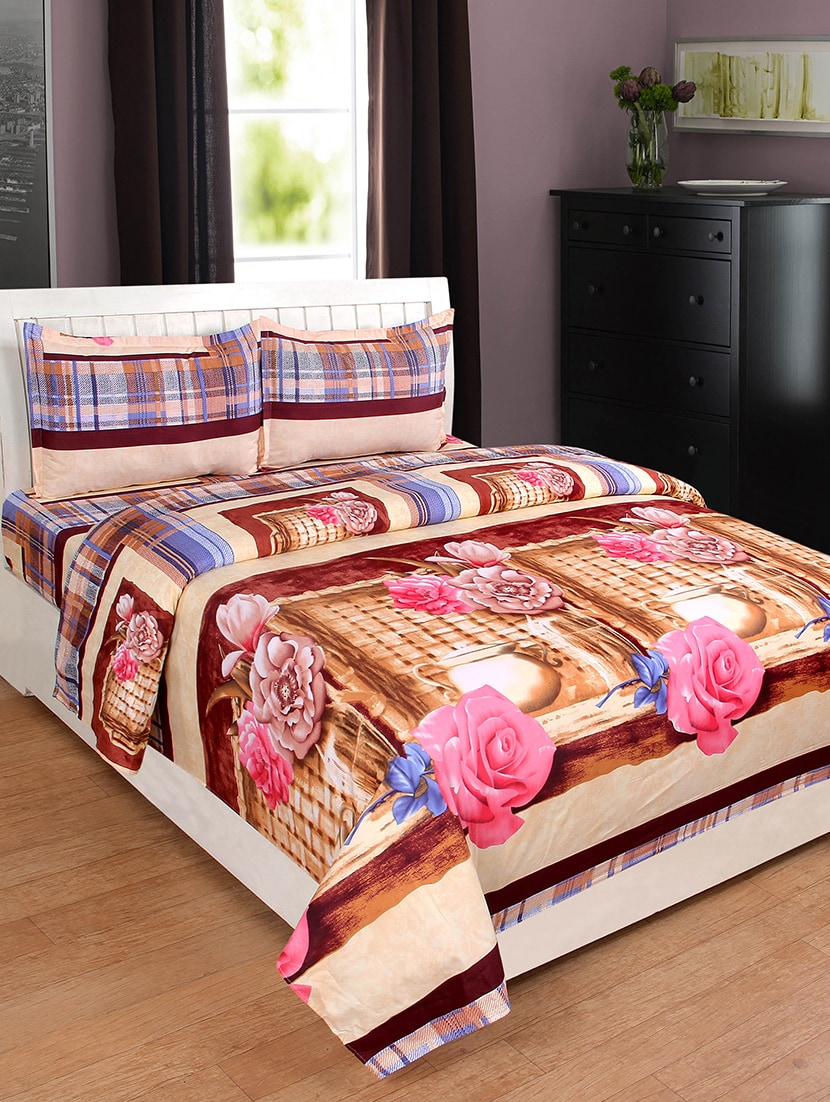 Buy Glace Cotton Double Bedsheet With 2 Pillow Covers By Krishnam   Online  Shopping For Bed Sheet Sets In India | 15125273