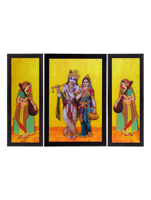 Buy Set Of 3 Lord Krishna With Radha Satin Matt Texture Uv Art ...