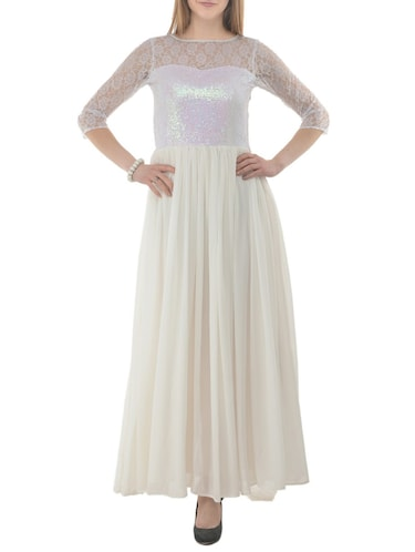 white sequenced  georgette gown - 15145951 - Standard Image - 1