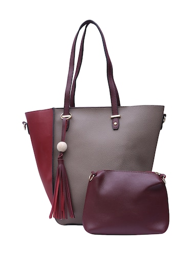 grey leatherette (pu) combo tote - 15146361 - Standard Image - 1