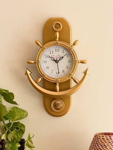 Decorative Retro Anchor Golden Pendulum Wall Clock - 15148932 - Standard Image - 1