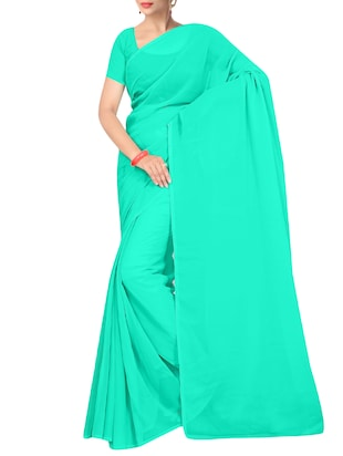 turquoise georgette plain saree with blouse - 15155234 - Standard Image - 1
