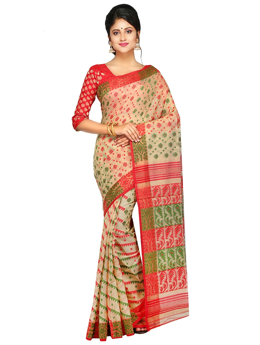 f6a9174e8b930 ... PinkLoom Beige Dhakai Jamdani Saree of Muslin without Blouse - 15162823  - Zoom Image - 1