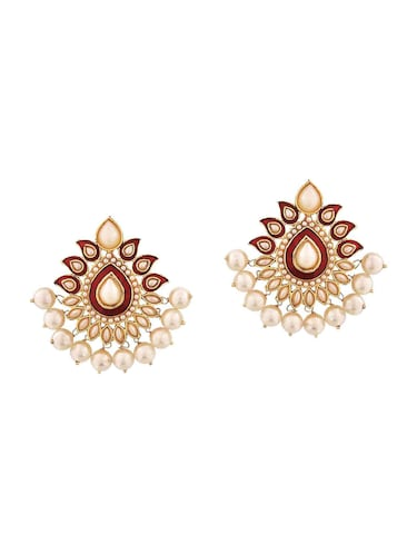 Red Gold Tone Pearl Inspired Earrings - 15166986 - Standard Image - 1