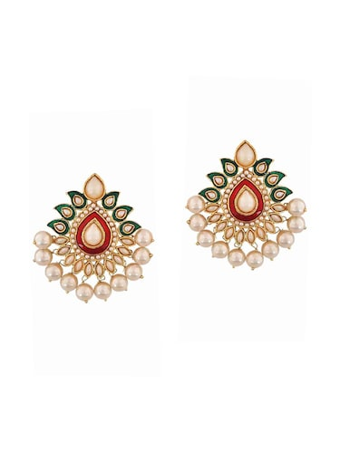Red Gold Tone Pearl Inspired Earrings - 15166987 - Standard Image - 1