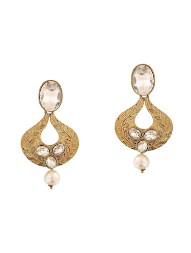 white gold tone drop earring - 15167019 - Standard Image - 1