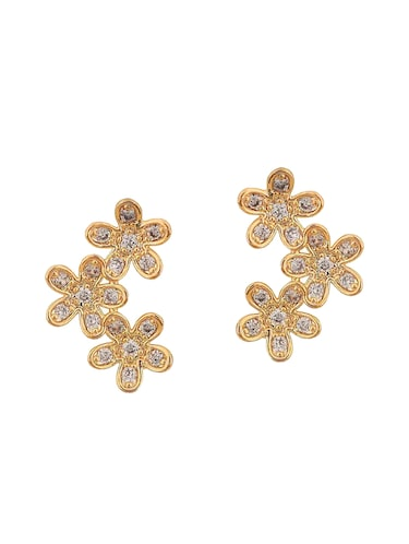 gold metal studs earring - 15167091 - Standard Image - 1