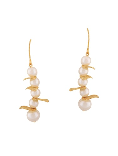 White Gold Tone Pearl Inspired Earrings - 15167106 - Standard Image - 1
