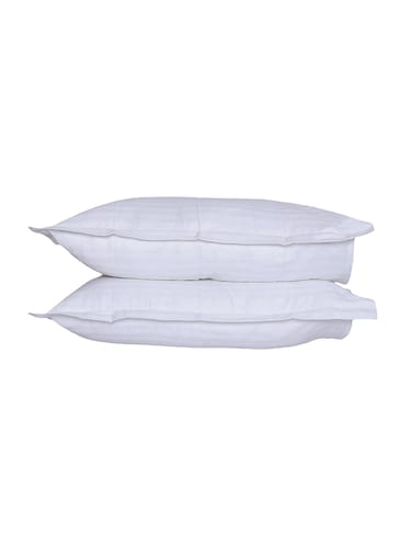 300 TC 100% Cotton Sateen Pencil Striped, Milky White Color, Pair Of Large Size Pillow Covers - 15170286 - Standard Image - 1