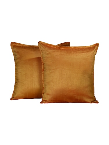 Set Of 2 16x16 Inches Solid Dupion Poly Silk Cushion Covers - 15170550 - Standard Image - 1