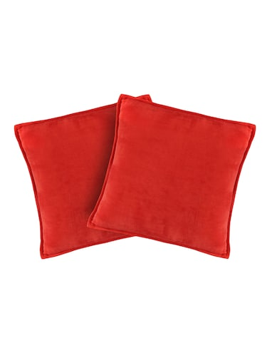 Set of 2 100% Cotton Velvet Red Regular Size Cushion Covers - 15170561 - Standard Image - 1