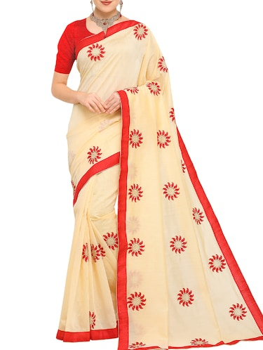 beige cotton blend embroidered saree with blouse - 15171096 - Standard Image - 1