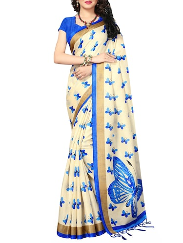 beige silk blend printed saree with blouse - 15172176 - Standard Image - 1