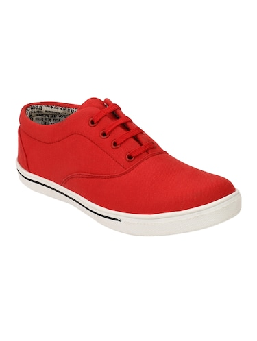 red Canvas lace up sneaker - 15173372 - Standard Image - 1
