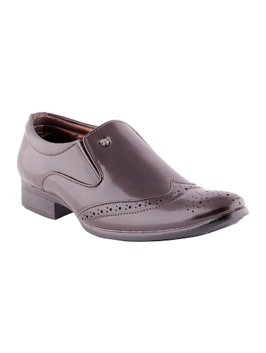 brown leatherette formal slip on - 15173373 - Standard Image - 1