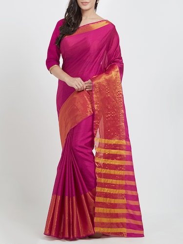 magenta art silk bordered saree with blouse - 15173435 - Standard Image - 1