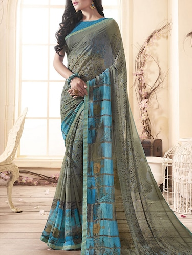 Grey printed saree with blouse - 15175262 - Standard Image - 1
