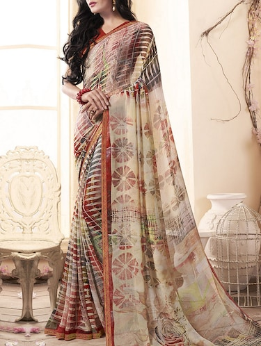 Beige printed saree with blouse - 15175272 - Standard Image - 1