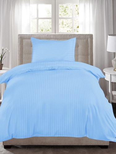 220 TC Striped Single Bedsheet with 1 Pillow Cover - 60 x 90 inches, Sky Blue - 15175456 - Standard Image - 1