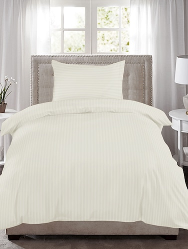 220 TC Striped Single Bedsheet with 1 Pillow Cover - 60 x 90 inches, Ivory - 15175466 - Standard Image - 1