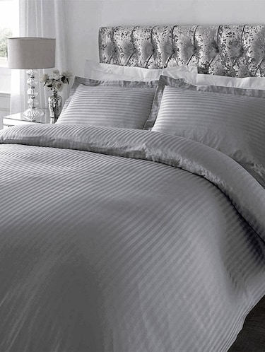 220 TC Striped Cotton King Size Bedsheet with 2 Pillow Covers - 108 x 108 inches, Grey - 15175477 - Standard Image - 1