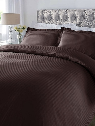 220 TC Striped Cotton King Size Bedsheet with 2 Pillow Covers - 108 x 108 inches, Brown - 15175487 - Standard Image - 1