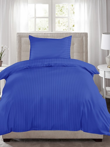 220 TC Striped Single Bedsheet with 1 Pillow Cover - 60 x 90 inches, Royal Blue - 15175496 - Standard Image - 1