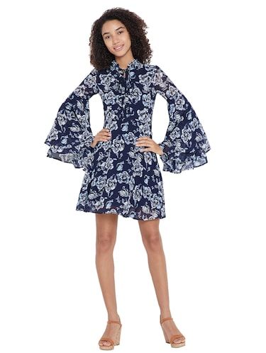navy blue floral a-line dress - 15175699 - Standard Image - 1