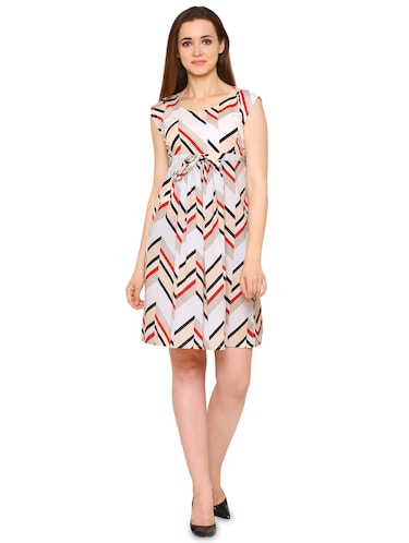 white crepe chevron a-line dress - 15175735 - Standard Image - 1