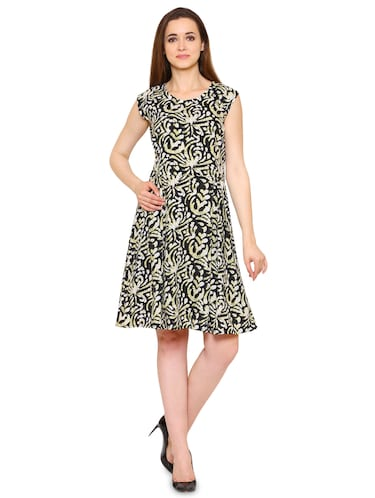 Black crepe batik a-line dress - 15175736 - Standard Image - 1