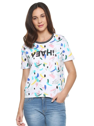 white printed cotton tee - 15175918 - Standard Image - 1