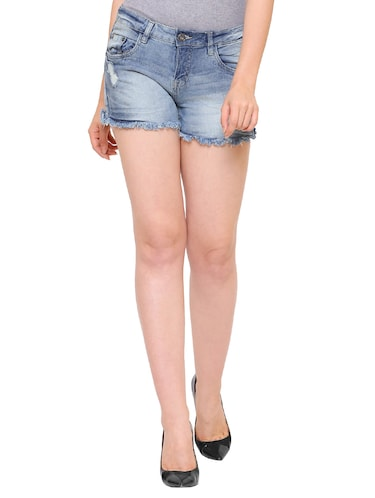 blue stone wash denim shorts - 15176363 - Standard Image - 1