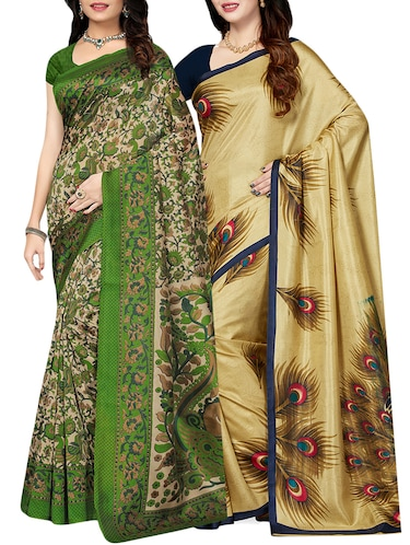set of 2 multicolor silk blend printed saree combo with blouse - 15176504 - Standard Image - 1