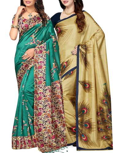 set of 2 multicolor silk blend printed saree combo with blouse - 15176515 - Standard Image - 1