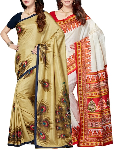 set of 2 multicolor silk blend printed saree combo with blouse - 15176518 - Standard Image - 1