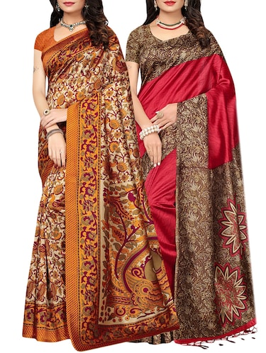 set of 2 multicolor silk blend printed saree combo with blouse - 15176527 - Standard Image - 1