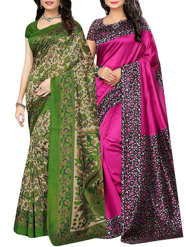 set of 2 multicolor silk blend printed saree combo with blouse - 15176534 - Standard Image - 1