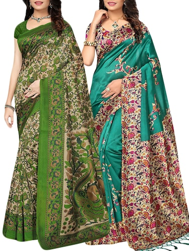 set of 2 multicolor silk blend printed saree combo with blouse - 15176542 - Standard Image - 1