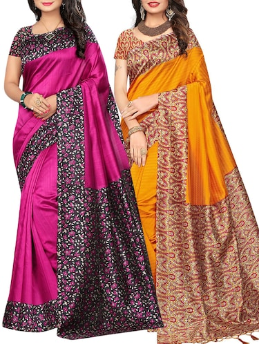 set of 2 multicolor silk blend printed saree combo with blouse - 15176547 - Standard Image - 1