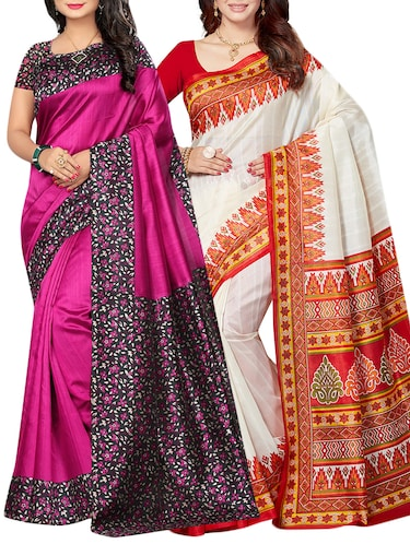 set of 2 multicolor silk blend printed saree combo with blouse - 15176555 - Standard Image - 1
